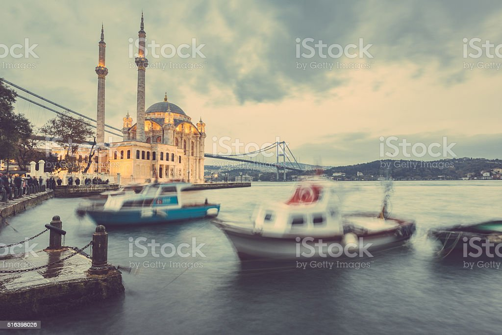 Ortakoy Mosque and Bosphorus Bridge in Istanbul at Dusk, Turkey stock photo
