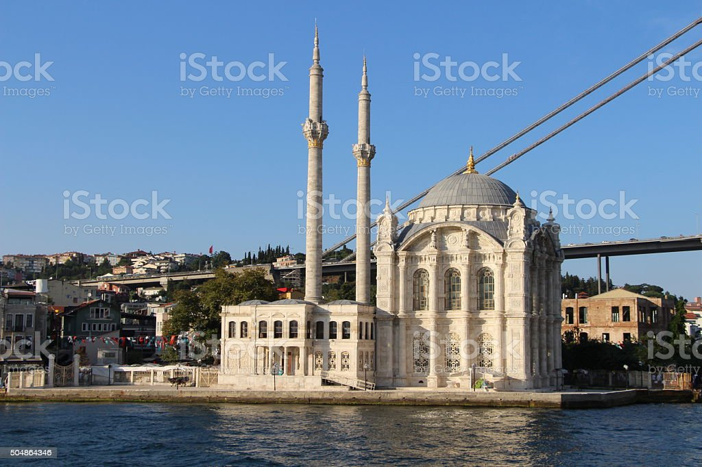 Ortakoy Mosque and Bosphorus Bridge in Istanbul Turkey stock photo
