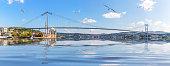 Ortakoy Mosque and Bosphorus Bridge, Istanbul panorama, Turkey.