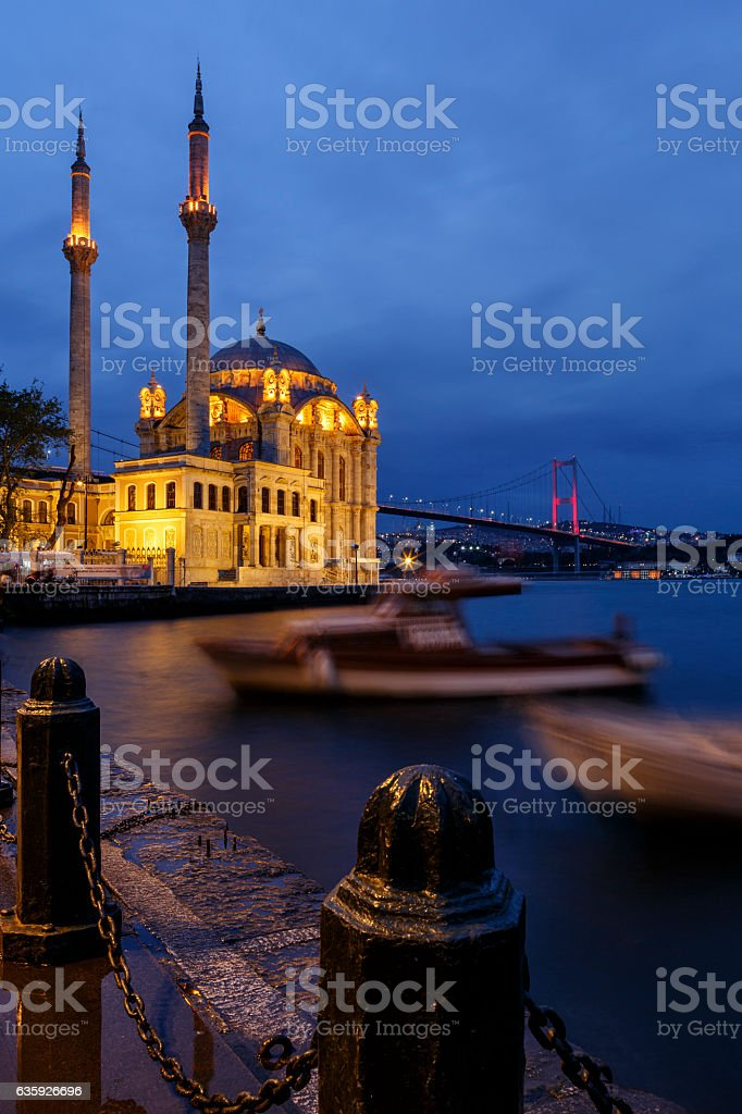 Ortakoy mosque and Bosphorus bridge, Istanbul, Turkey stock photo