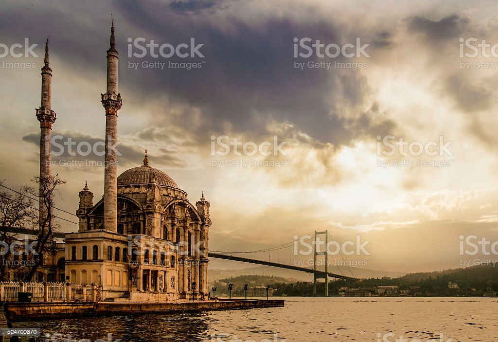 Ortakoy Mosque and Bosphorus Bridge stock photo