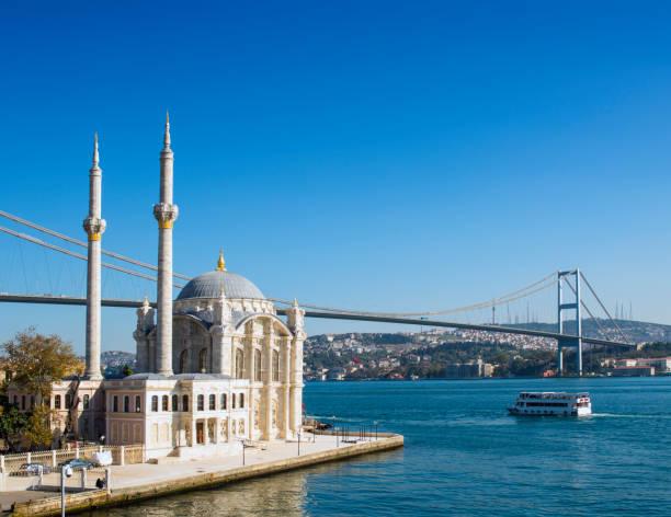 Ortakoy Mosque and the Bosphorus Bridge in Istanbul, Turkey stock photo