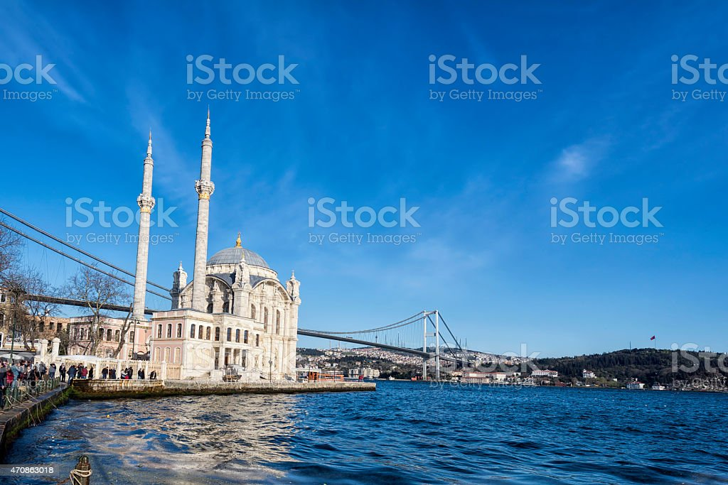 Ortakoy Mosque near Bosphorus in Istanbul, Turkey stock photo