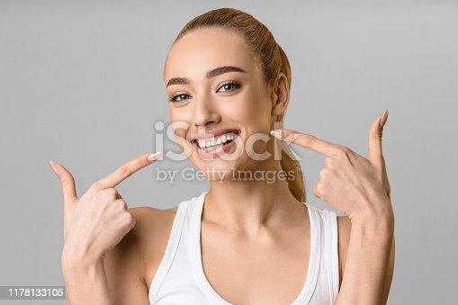 istock Orthodontic concept. Happy girl showing her beaming white teeth 1178133105