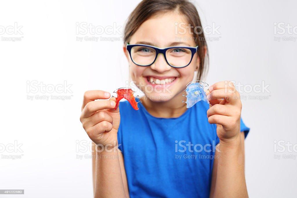 Orthodontics, hermosa sonrisa. - foto de stock
