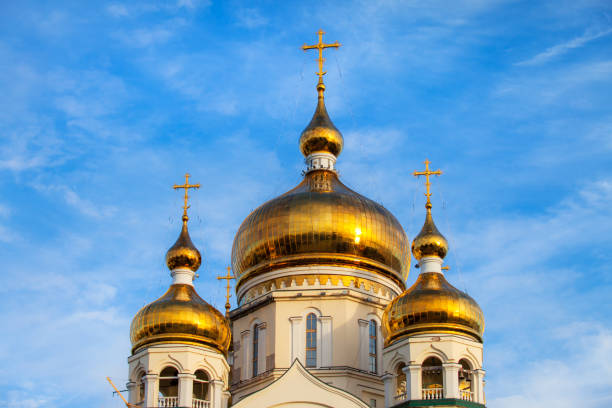orthodox cathedral domes and golden crosses - cupola stock pictures, royalty-free photos & images