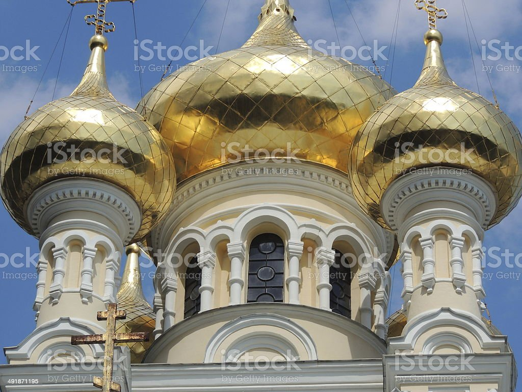 Orthodox Cathedral golden domes. stock photo