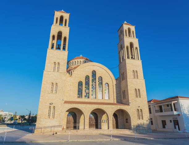 Orthodox Cathedral in Paphos, Cyprus stock photo