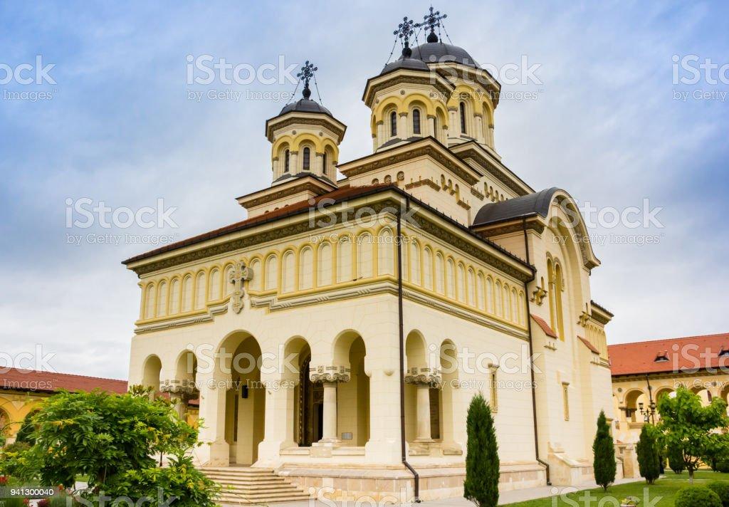 Orthodox cathedral in the citadel of Alba Iulia, Romania stock photo
