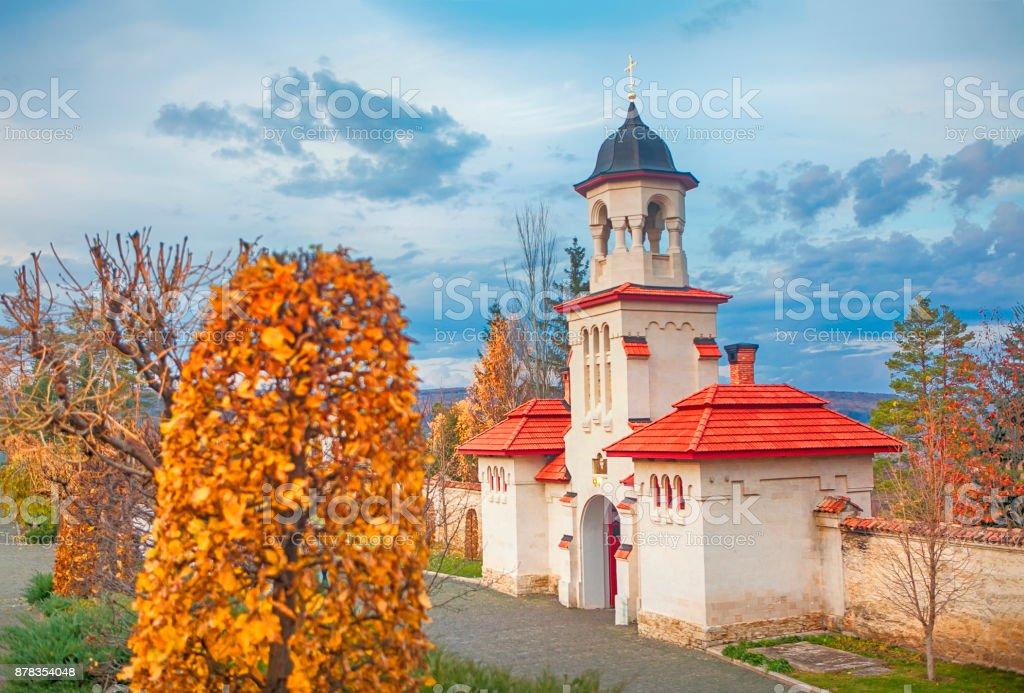 orthodox chapel in autumn stock photo