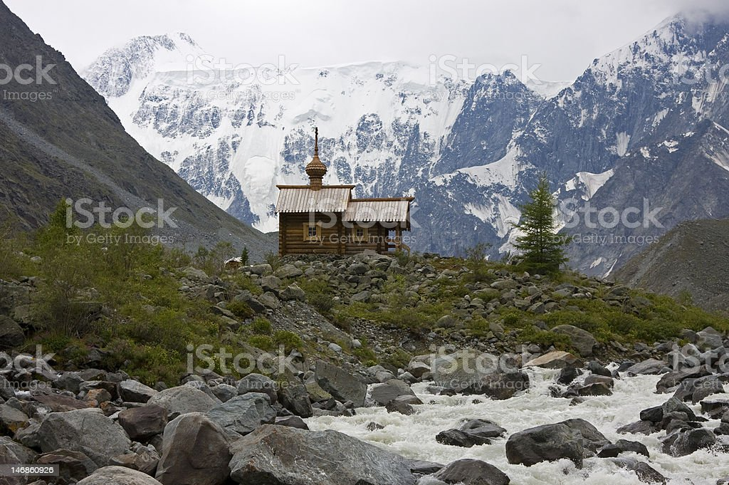 Orthodox chapel in mountains royalty-free stock photo