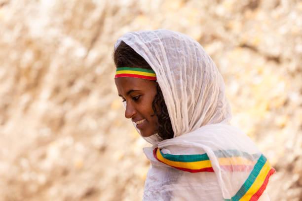 Orthodox Christian ethiopian woman, Lalibela, Ethiopia stock photo
