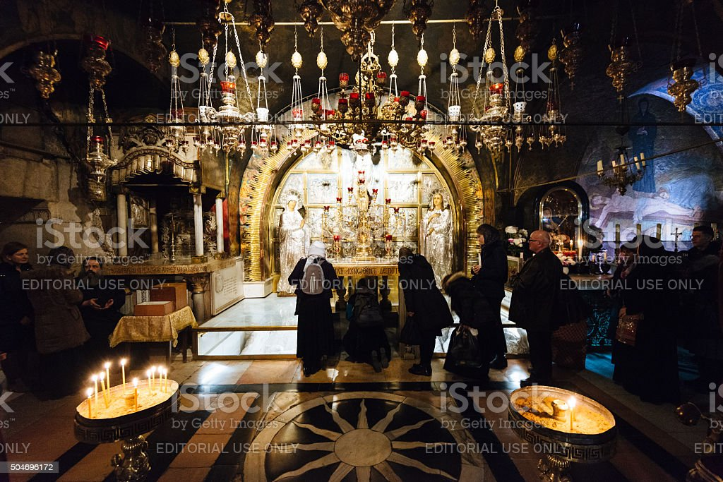 Orthodox Christmas in Church of Holy Sepulchre, Jerusalem, Israel stock photo