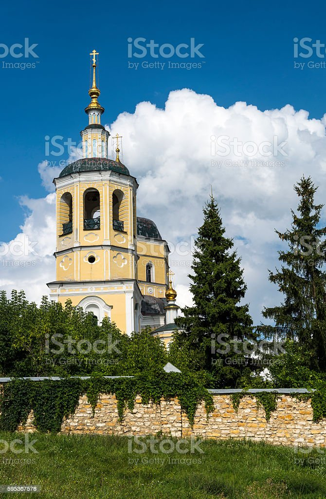 Orthodox Church against a beautiful sky with clouds, Russia, Serpukhov stock photo