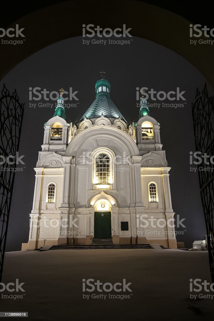 Orthodox Church At Night In Light Of Illumination Backlit Stock