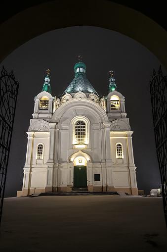 Orthodox church at night in the light of illumination backlit.
