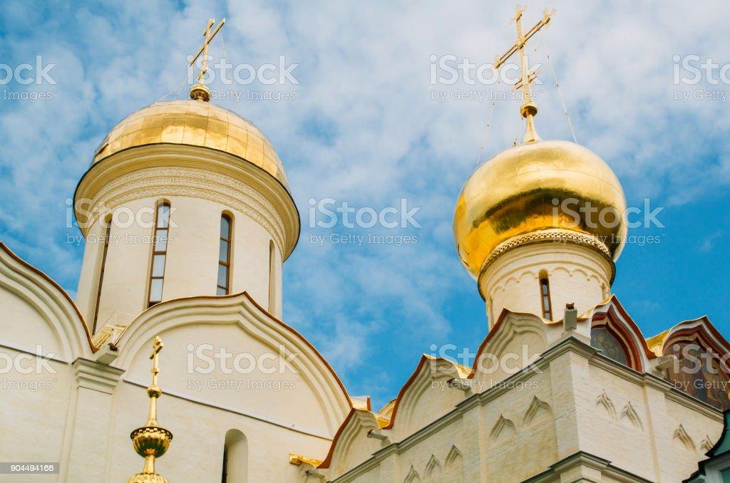 Orthodox church dome detail in Sergiyev posad Russia stock photo