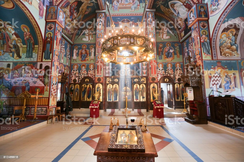 Orthodox church interior, Church of St. Nicholas Nis, Serbia stock photo