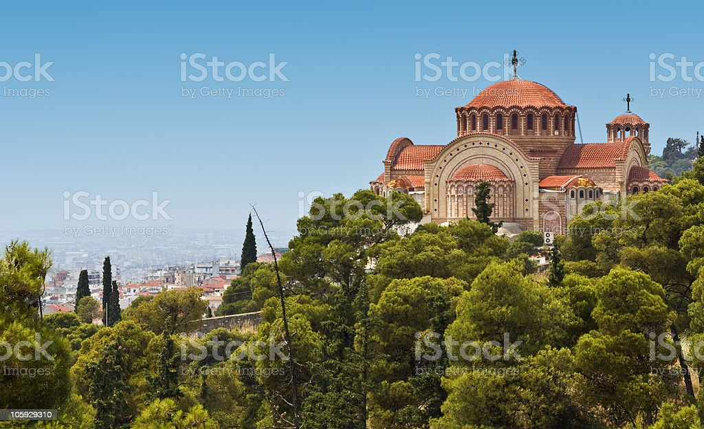 Orthodox church of Saint Pavlo at Thessaloniki, Greece stock photo