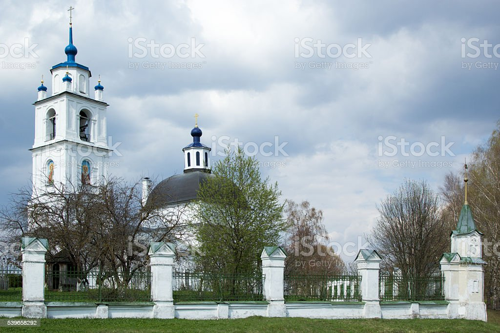 Orthodox Church of Transfiguration in Spas, Russia stock photo