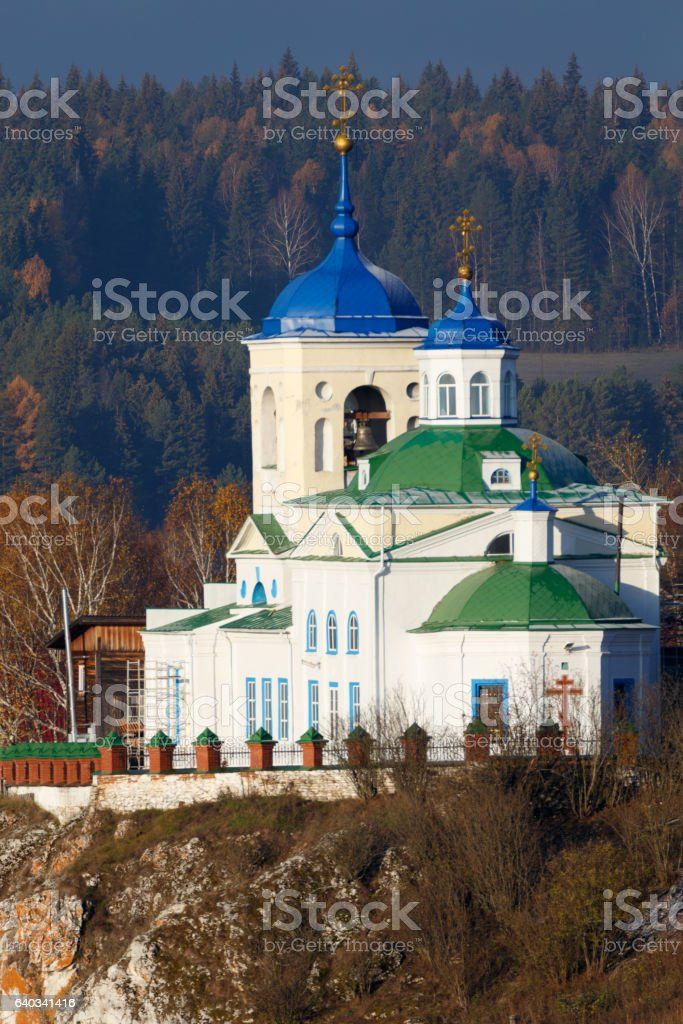 orthodox church, russian church, first snow in village, building stock photo
