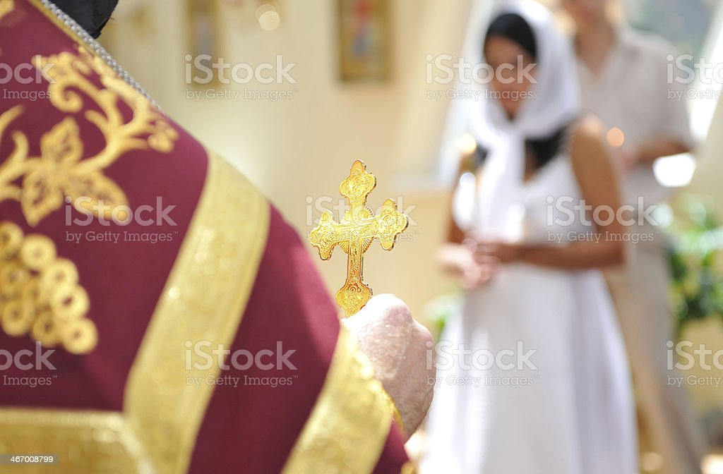 Orthodox cross in his hand the priest. stock photo
