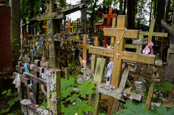 orthodox crosses on the Holy Mountain of Grabarka in Poland stock photo