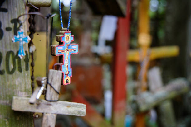 orthodox crucifix among other crosses on the Holy Mountain of Grabarka in Poland stock photo