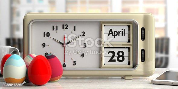 istock Orthodox Easter, 28 April 2019 date on old retro alarm clock, 3d illustration. 1058546636