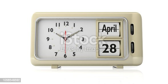 istock Orthodox Easter date 28 April 2019 on old retro alarm clock, white background, isolated, 3d illustration. 1058546592