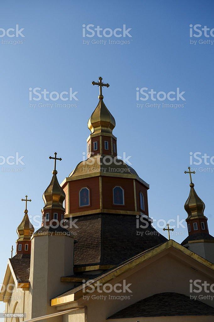 Orthodox golden domes stock photo