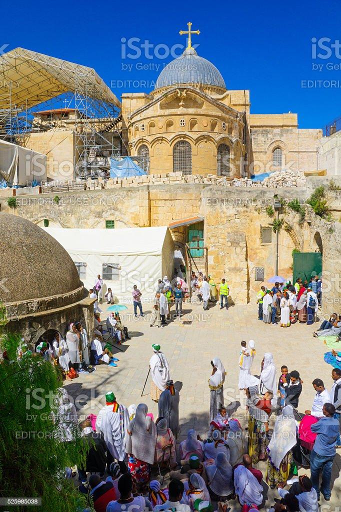 Orthodox Good Friday 2016 in Jerusalem stock photo
