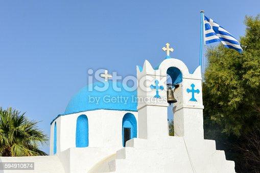 istock Orthodox Greek church in the Greek Islands 594910874