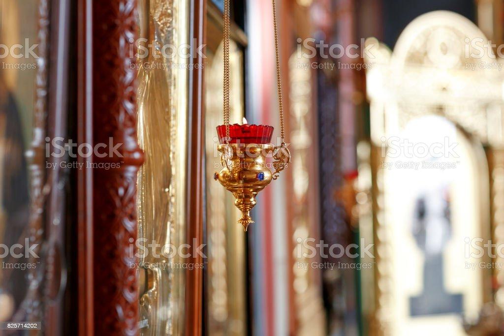 Orthodox Icon Lamp Church Oil Church Attribute Stock Photo