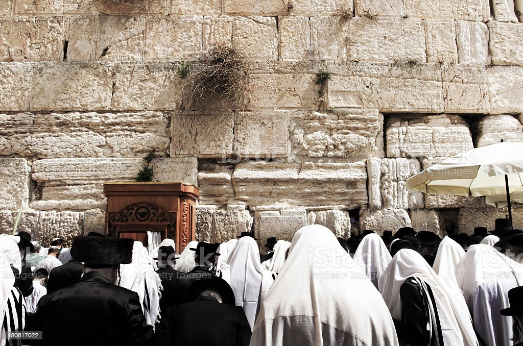 Orthodox jews praying in the Wailing Wall royalty-free stock photo