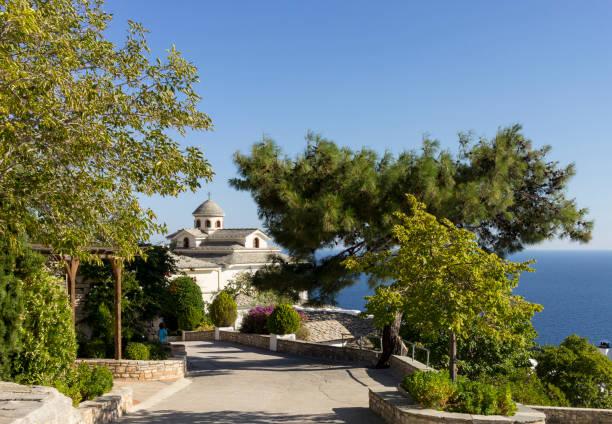 Orthodox Monastry, Thassos Island, Greece stock photo