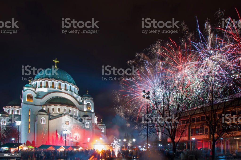 Orthodox New Year's Fireworks, St. Sava Temple, Belgrade stock photo
