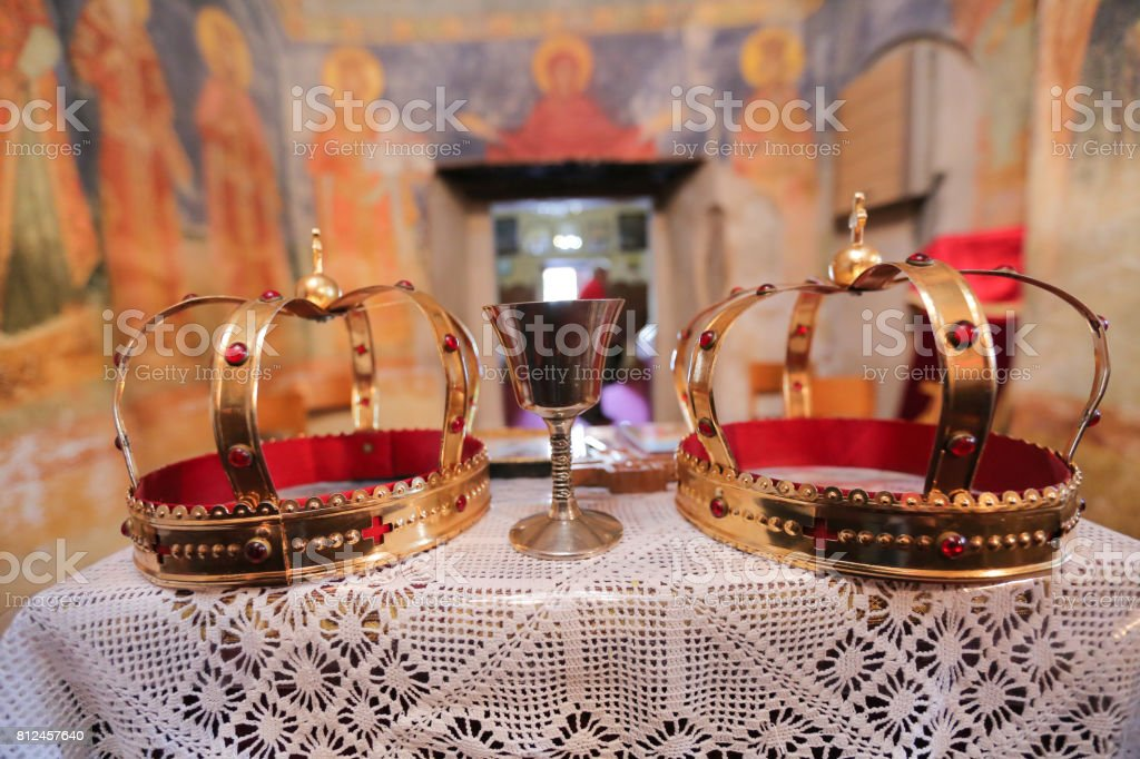 Orthodox Religious Crowns stock photo