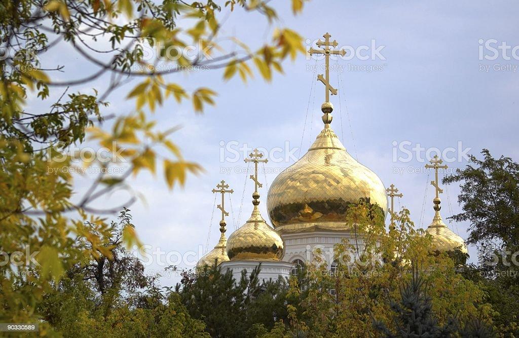 Orthodox Temple cupolas stock photo
