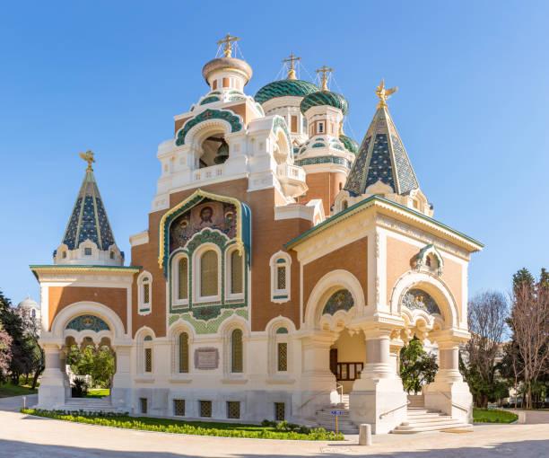 orthodoxie kirche nizza, frankreich - russisch orthodoxe kirche stock-fotos und bilder