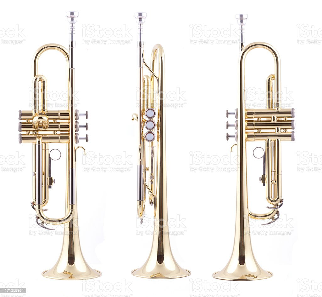 Orthographic views of a trumpet stock photo
