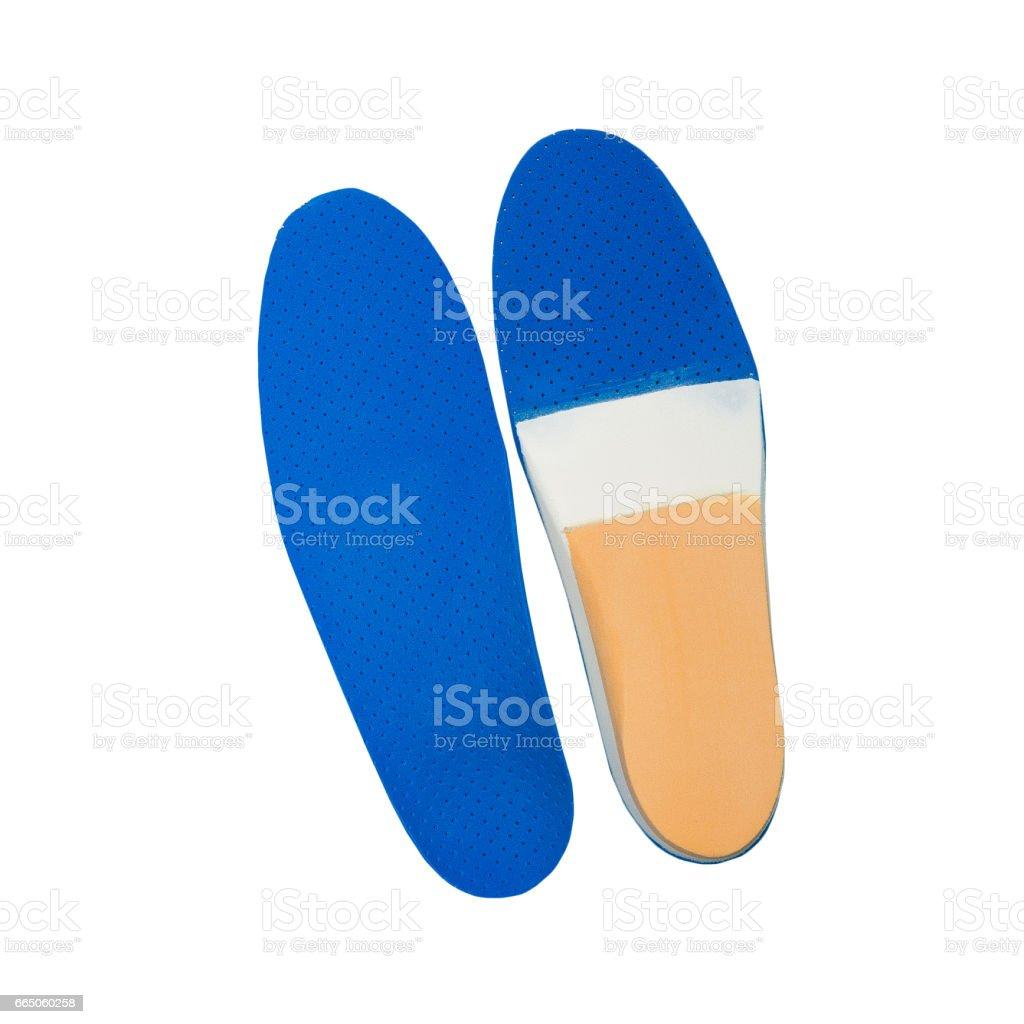 orthopedic insoles on white background stock photo