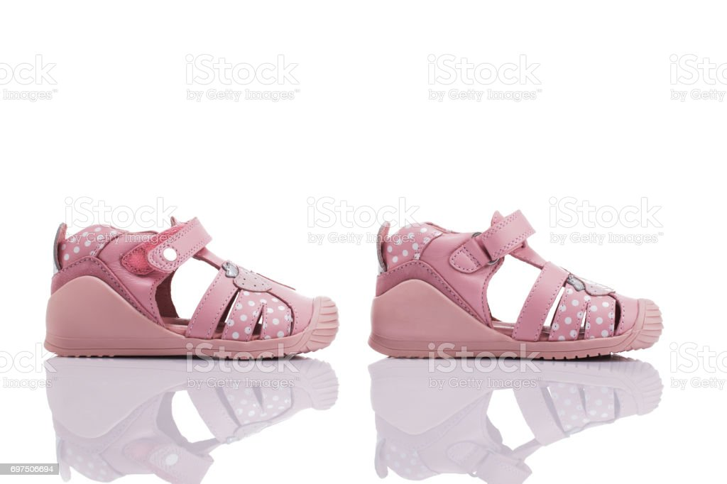 b06484a4df Orthopedic leather baby girl summer sandals isolated on a white  royalty-free stock photo
