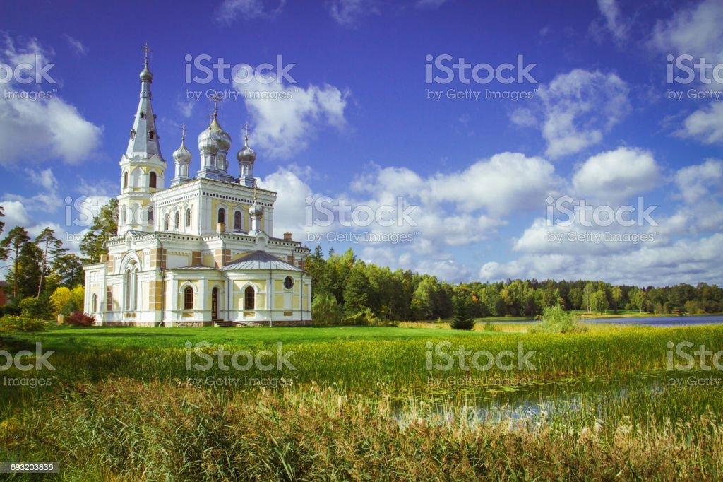 Ortodox church with nature in Latvia, 2015. stock photo