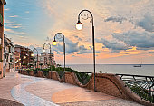 Ortona, Abruzzo, Italy: seafront at dawn, beautiful terrace with street lamp on the Adriatic sea