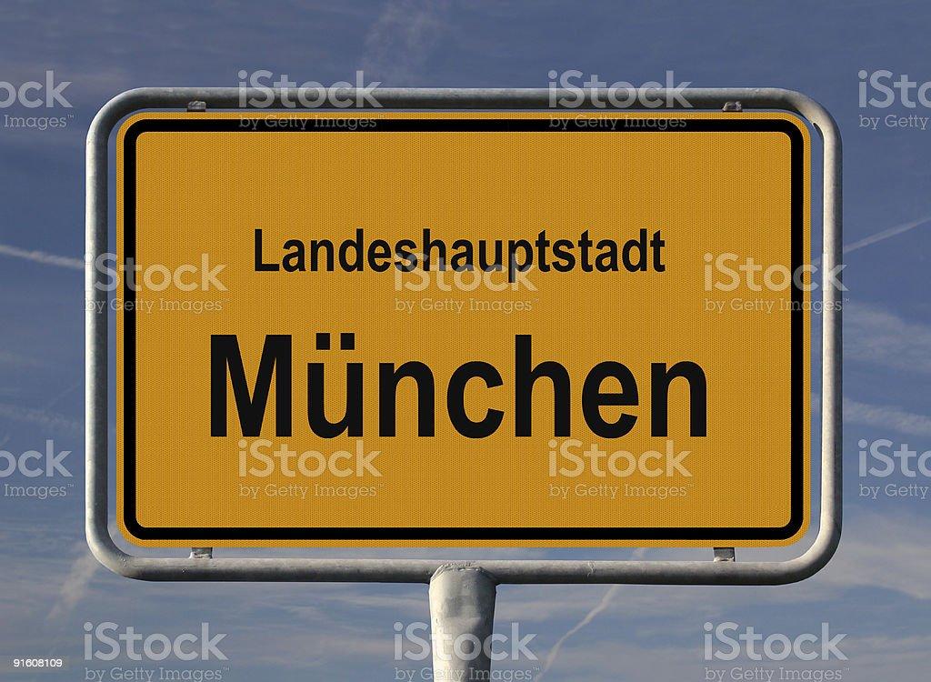 Ortseingangsschild Landeshauptstadt München royalty-free stock photo