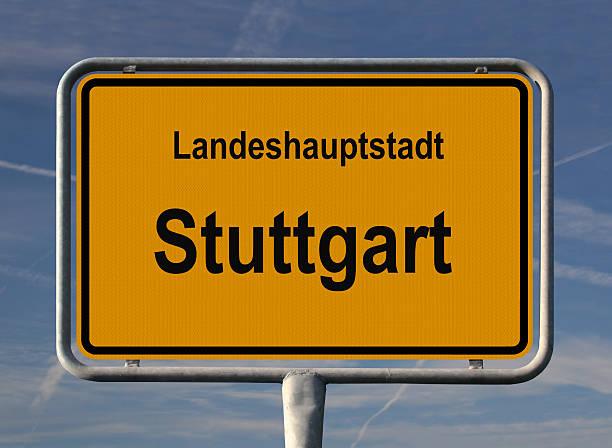 ortseingangsschild landeshauptstadt stuttgart - ortsschild stock-fotos und bilder