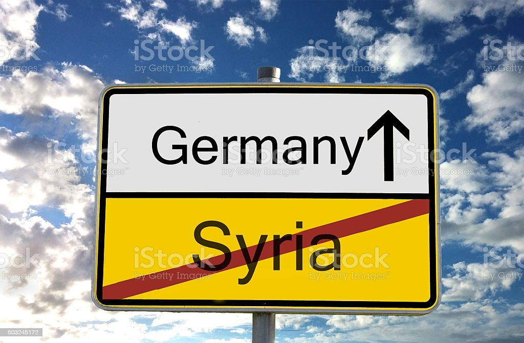 ortssschild deutschland syrien stock photo