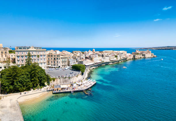 Ortygia, Syracuse Panoramic view of Ortygia, Syracuse, Sicily. Photo taken with drone. sicily stock pictures, royalty-free photos & images