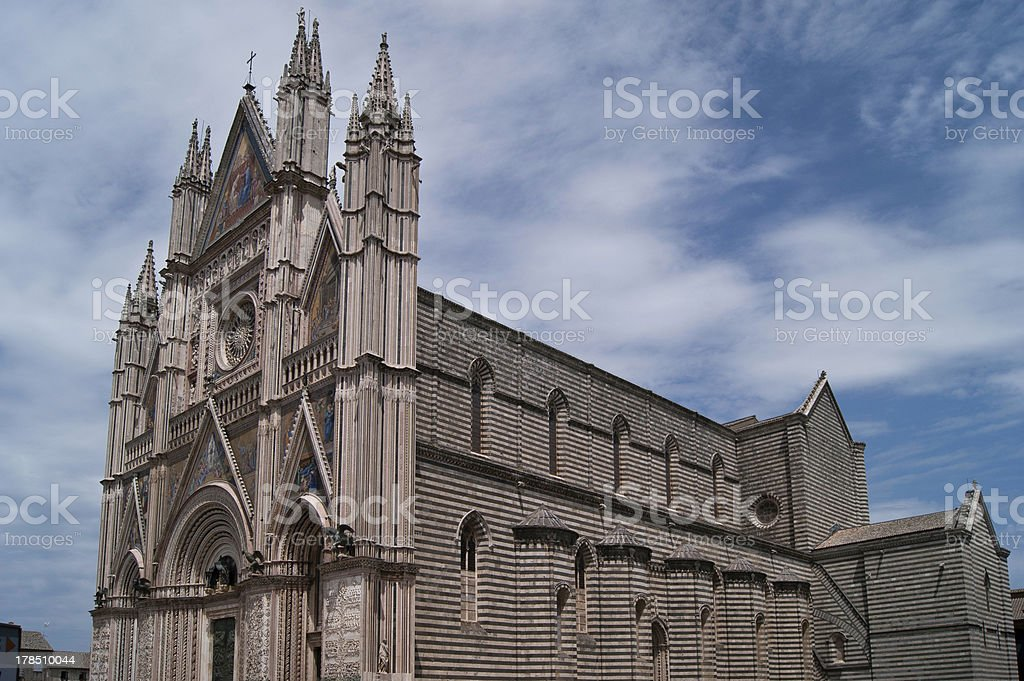 Orvieto Cathedral Facade and right side royalty-free stock photo